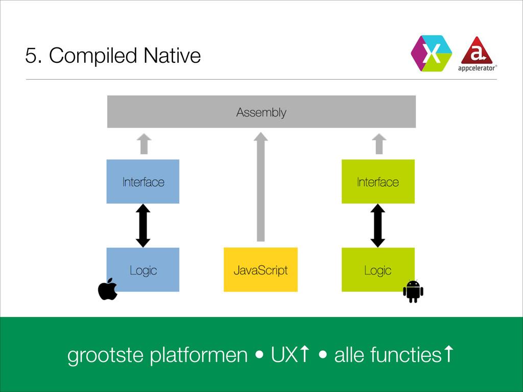 5. Compiled Native grootste platformen • UX↑ • ...