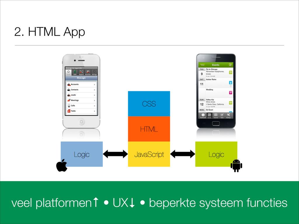 2. HTML App veel platformen↑ • UX↓ • beperkte s...