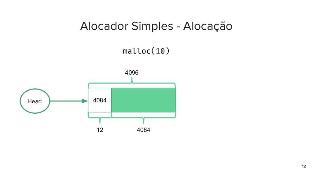 Alocador Simples - Alocação malloc(10) 18 4084 ...