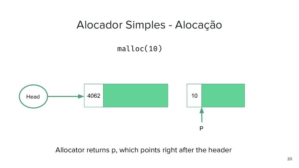 Alocador Simples - Alocação malloc(10) 20 4062 ...