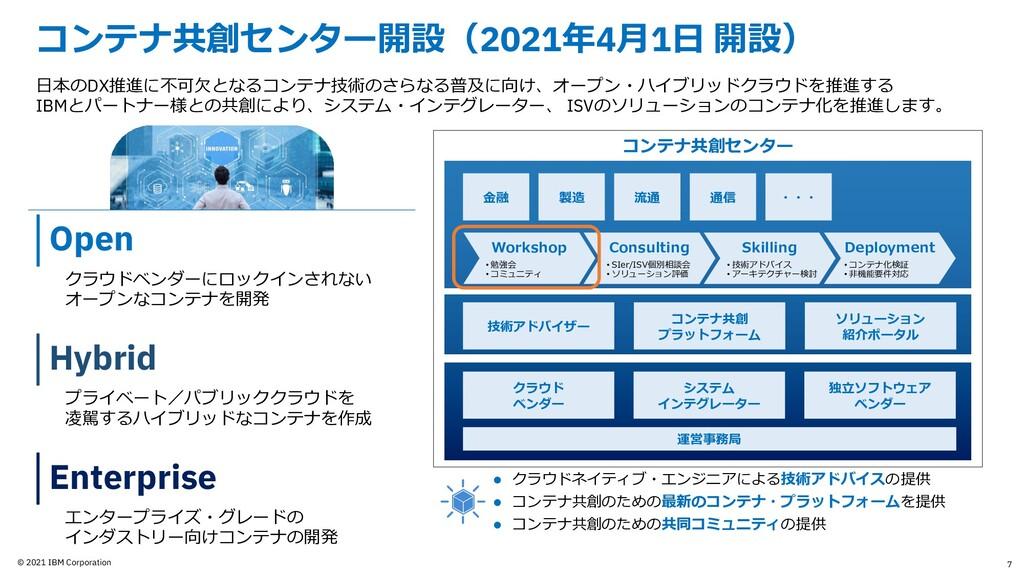 © 2021 IBM Corporation コンテナ共創センター開設(2021年4⽉1⽇ 開...