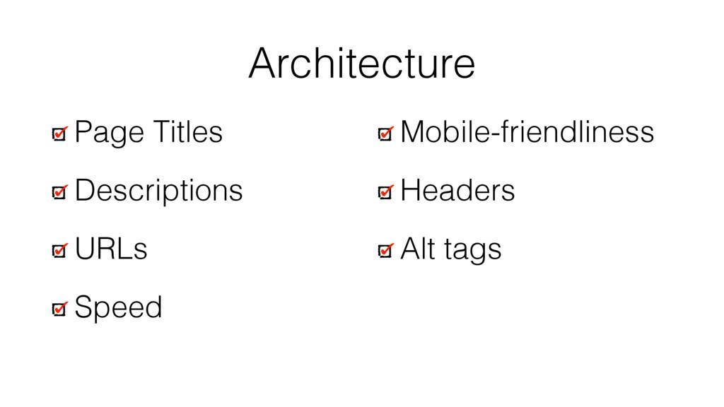 Architecture Page Titles Descriptions URLs Spee...