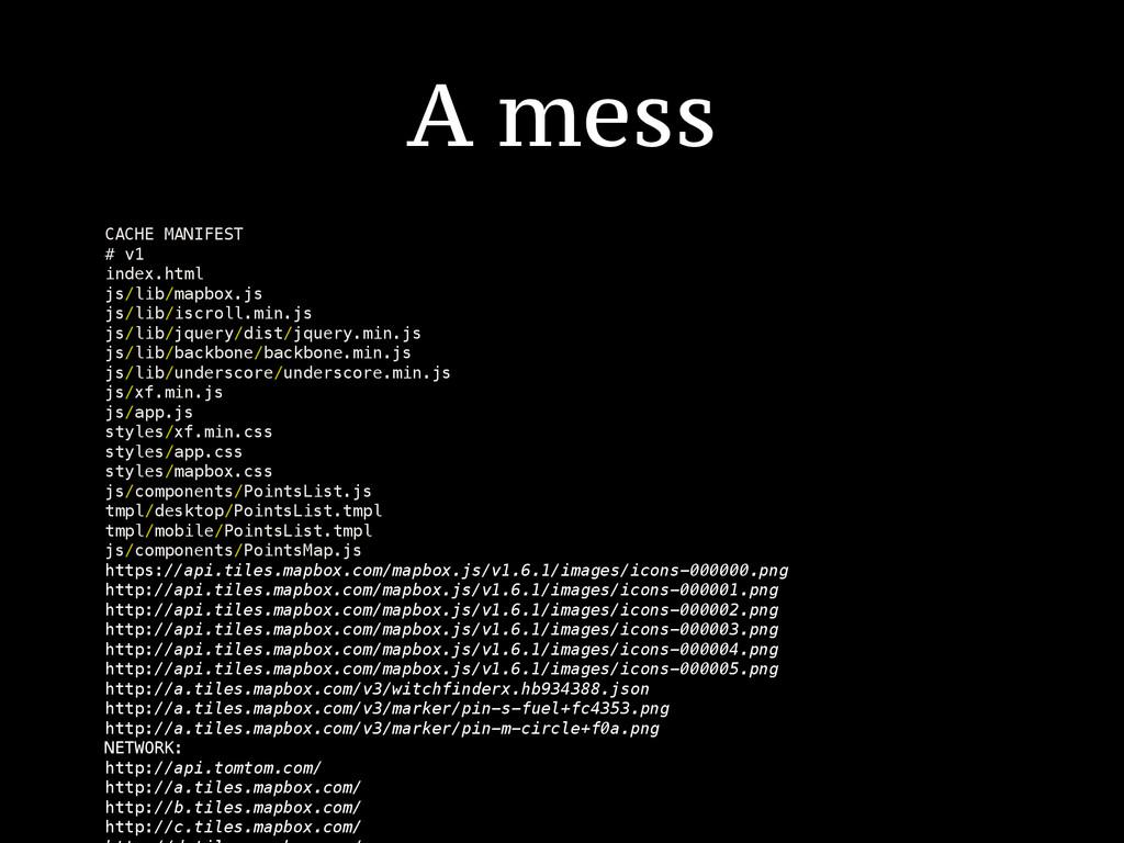 A mess CACHE MANIFEST # v1 index.html js/lib/ma...