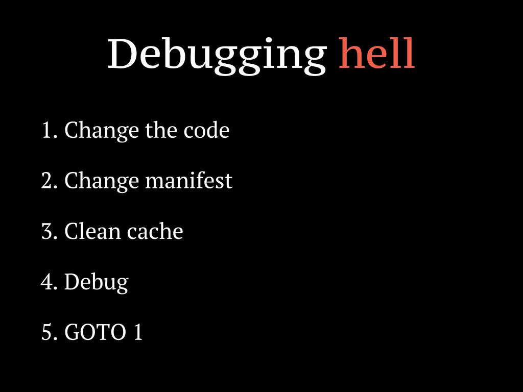 Debugging hell 1. Change the code 2. Change man...
