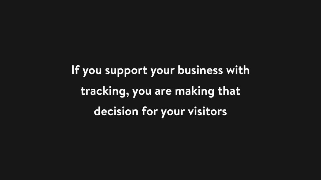 If you support your business with tracking, you...