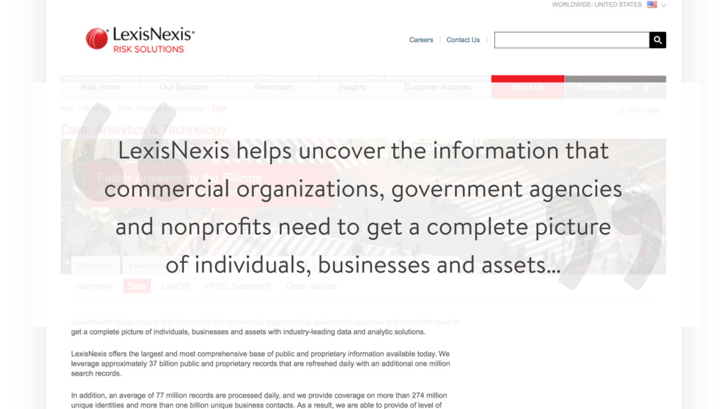 """ "" LexisNexis helps uncover the information th..."