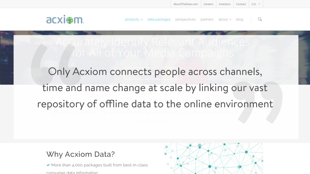 """ "" Only Acxiom connects people across channels..."