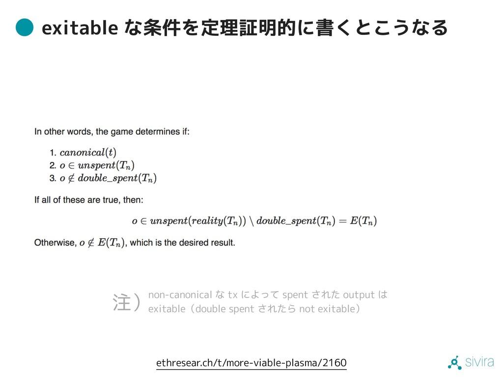 sivira exitable な条件を定理証明的に書くとこうなる non-canonical...