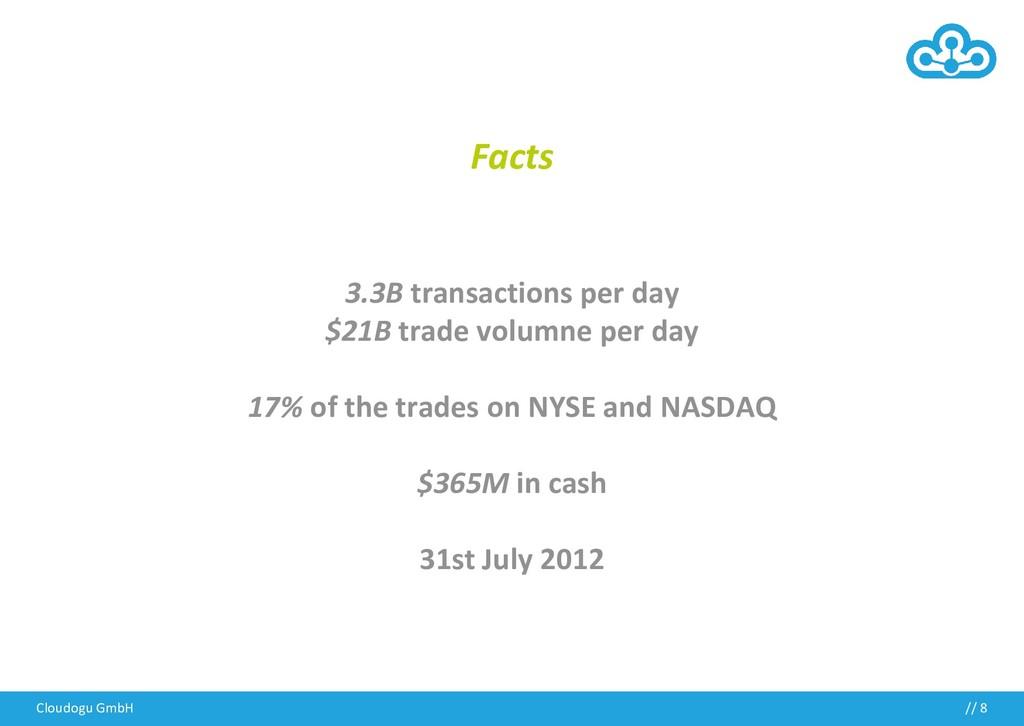 Cloudogu GmbH // 8 Facts 3.3B transactions per ...