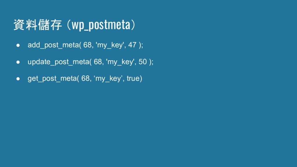 資料儲存 (wp_postmeta) ● add_post_meta( 68, 'my_key...