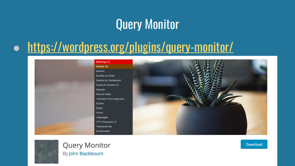Query Monitor ● https://wordpress.org/plugins/q...