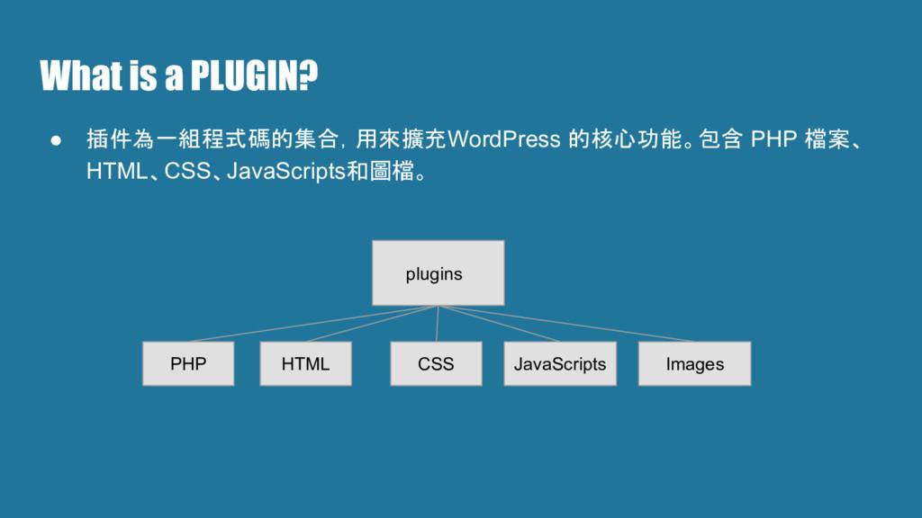 What is a PLUGIN? ● 插件為一組程式碼的集合,用來擴充WordPress 的...