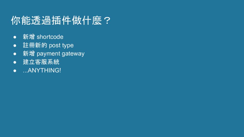 你能透過插件做什麼? ● 新增 shortcode ● 註冊新的 post type ● 新增...
