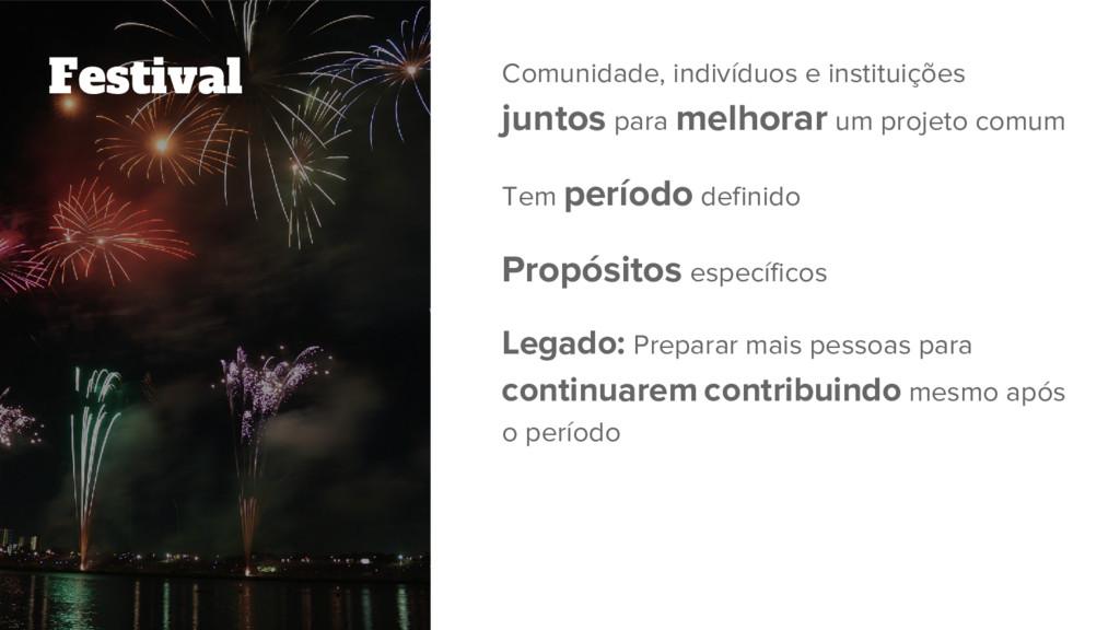 Festival Comunidade, indivíduos e instituições ...