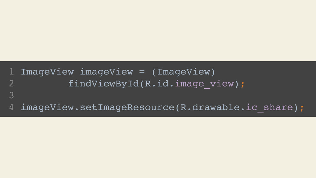 1 ImageView imageView = (ImageView) 2 findViewB...