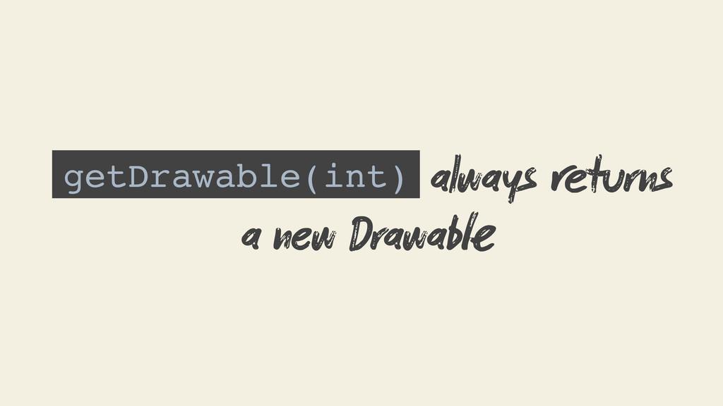 getDrawable(int) always turns a new Drawab