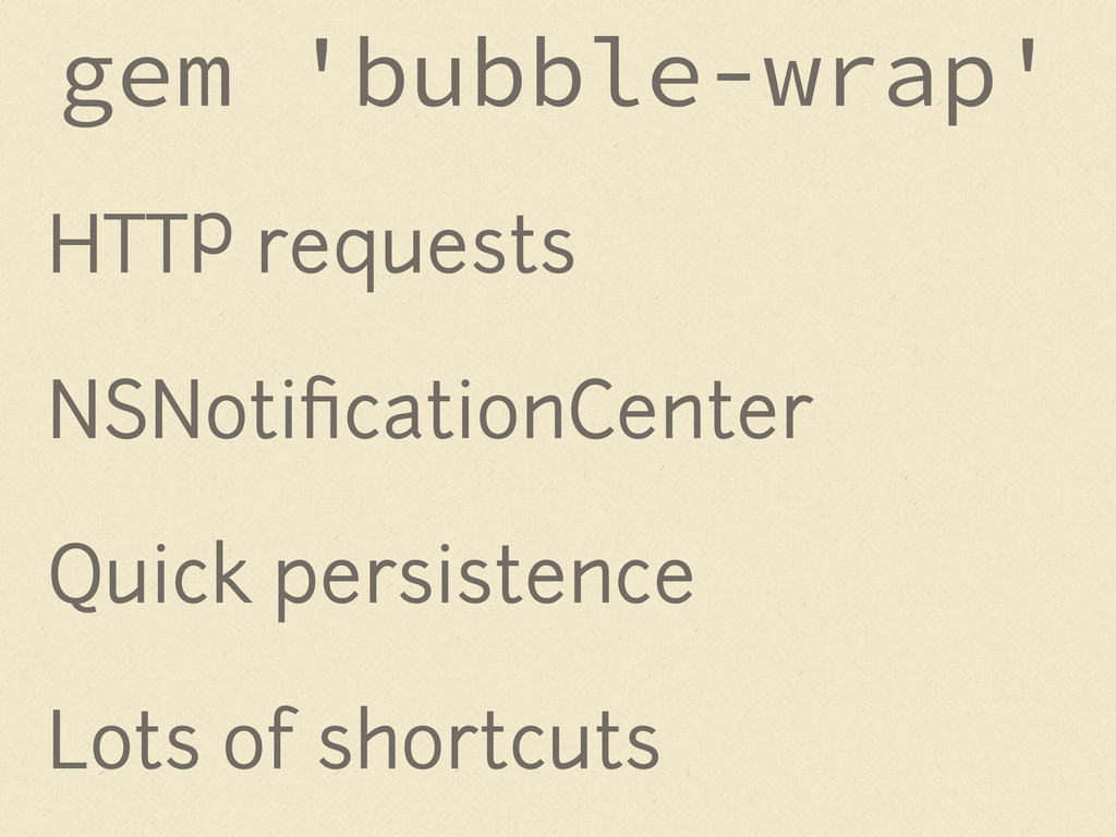 HTTP requests NSNotificationCenter Quick persist...