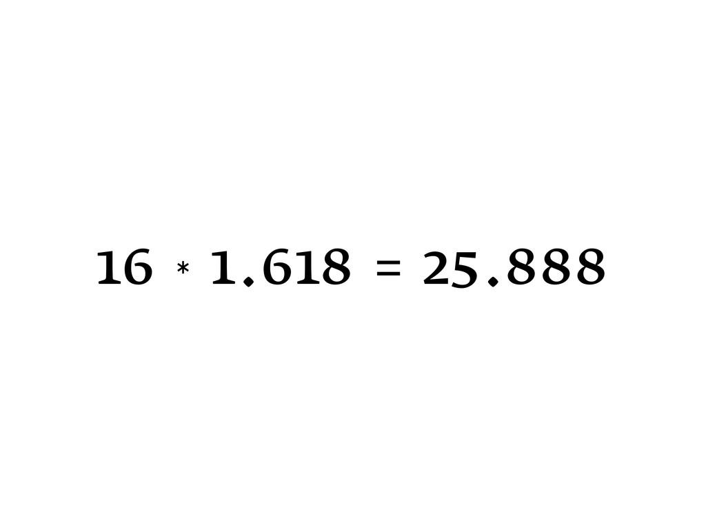 16 * 1.618 = 25.888