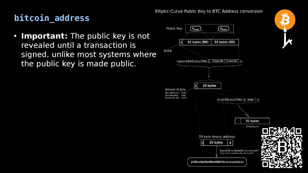 bitcoin_address • Important: The public key is ...