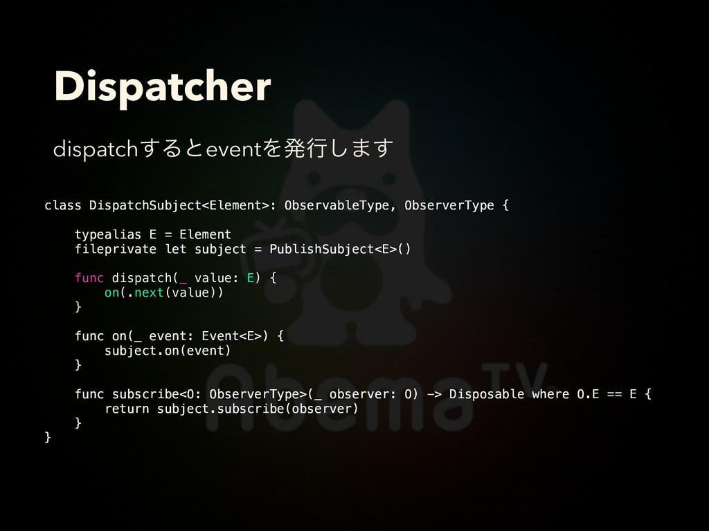 Dispatcher class DispatchSubject<Element>: Obse...