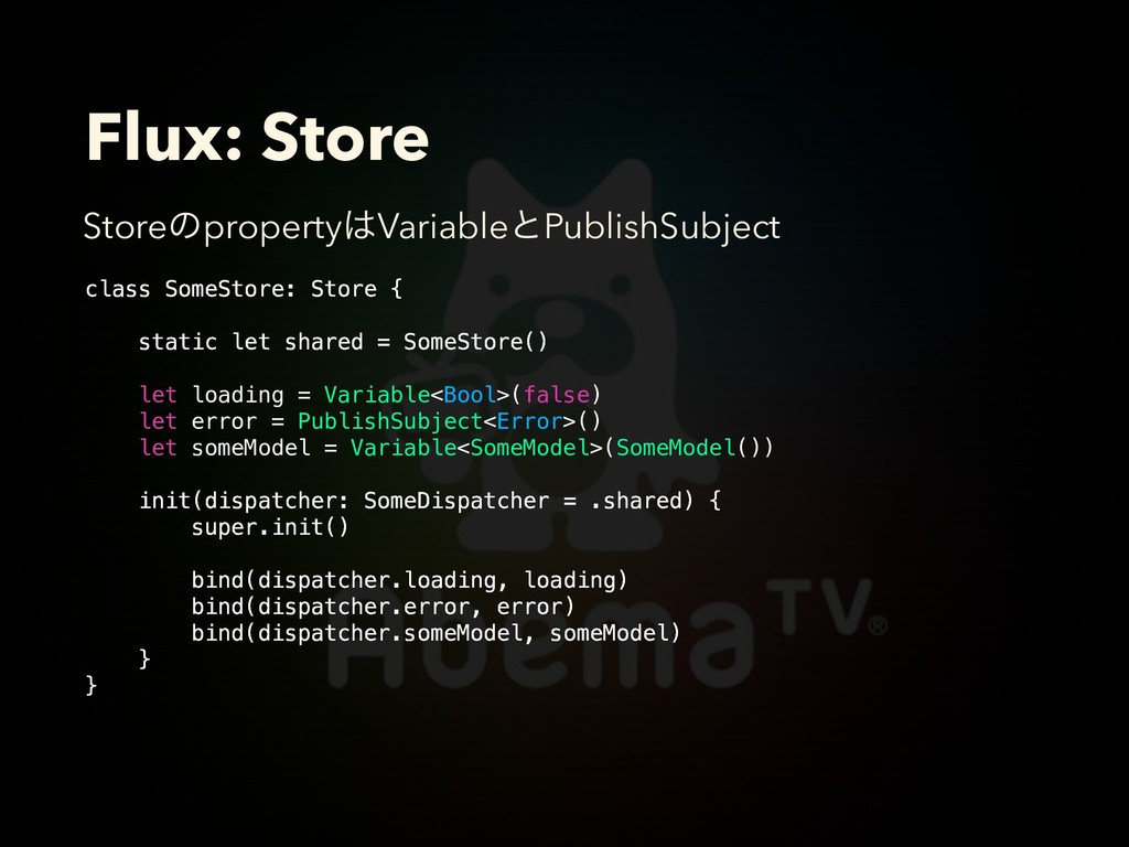 Flux: Store class SomeStore: Store { static let...