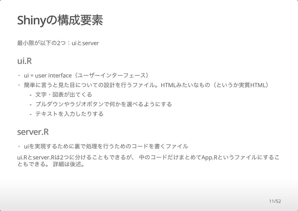Shinyの構成要素 最⼩限が以下の2つ:uiとserver ui.R server.R ui...