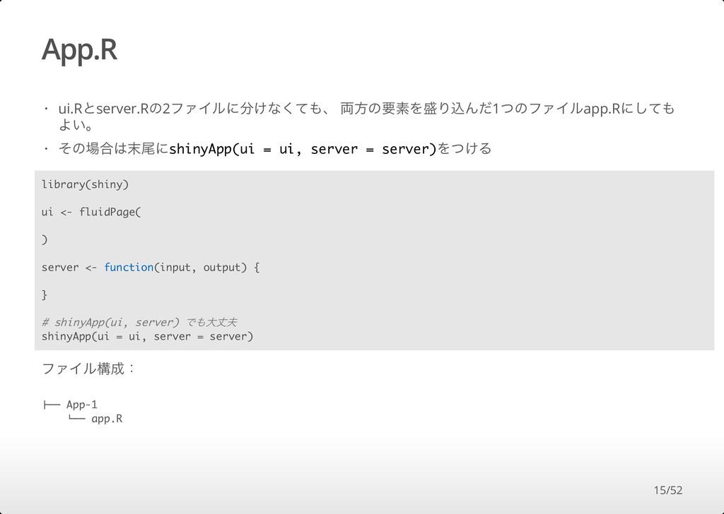 App.R ファイル構成: ui.Rとserver.Rの2ファイルに分けなくても、 両⽅の要素...