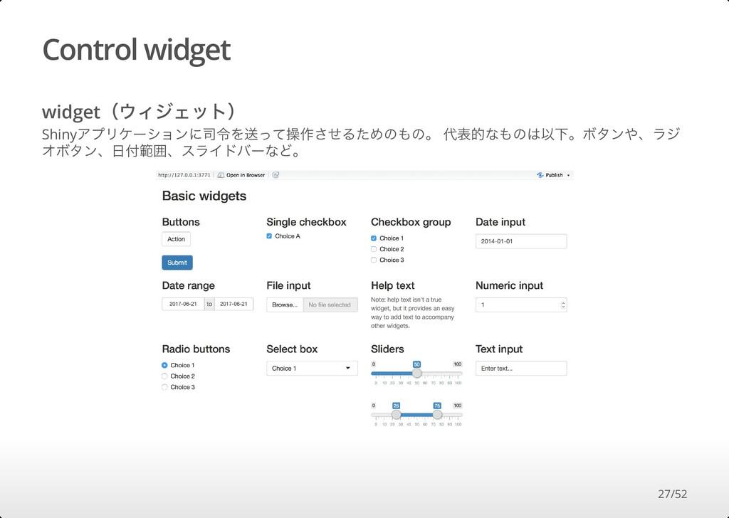 Control widget widget(ウィジェット) Shinyアプリケーションに司令を...