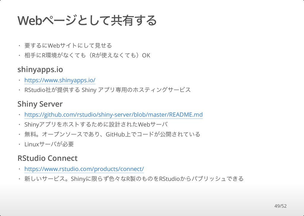 Webページとして共有する shinyapps.io Shiny Server RStudio...