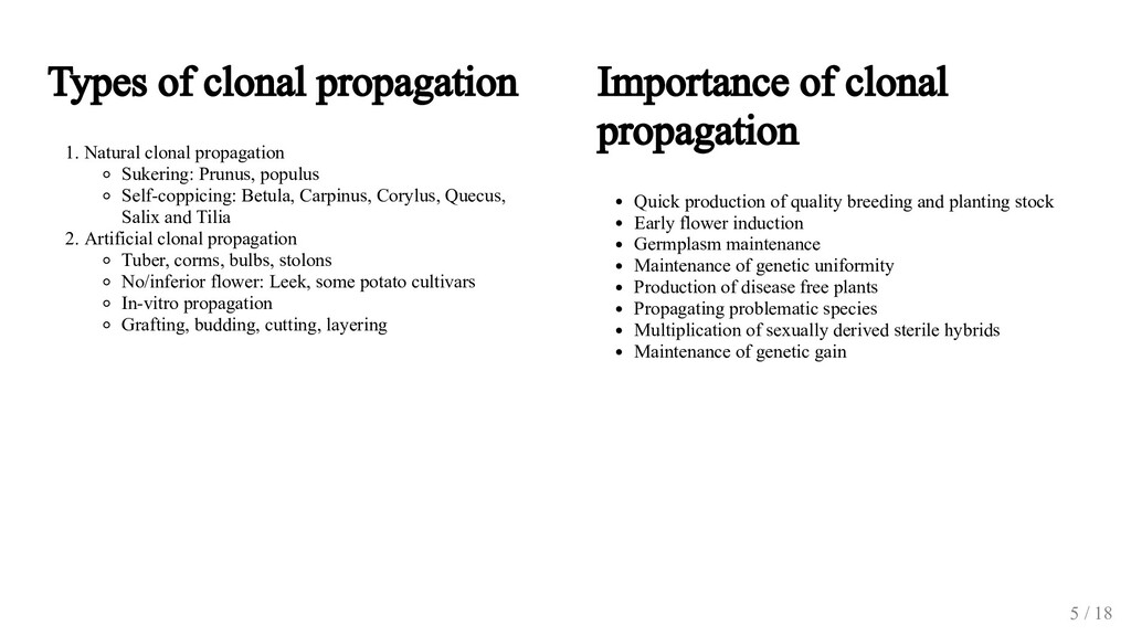 Types of clonal propagation 1. Natural clonal p...