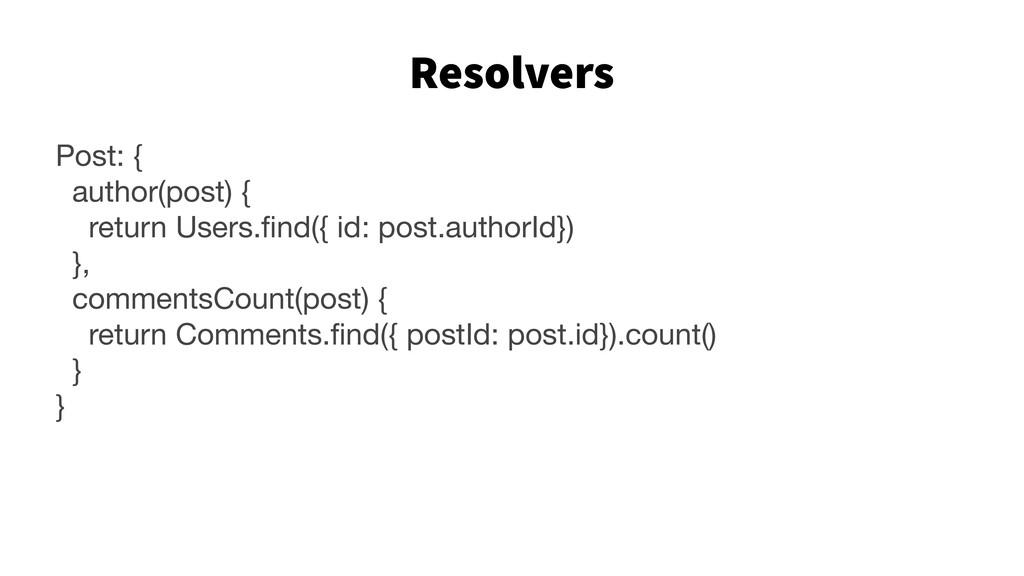 Resolvers 34 Post: {  author(post) {  return Us...