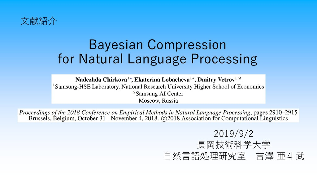 Bayesian Compression for Natural Language Proce...