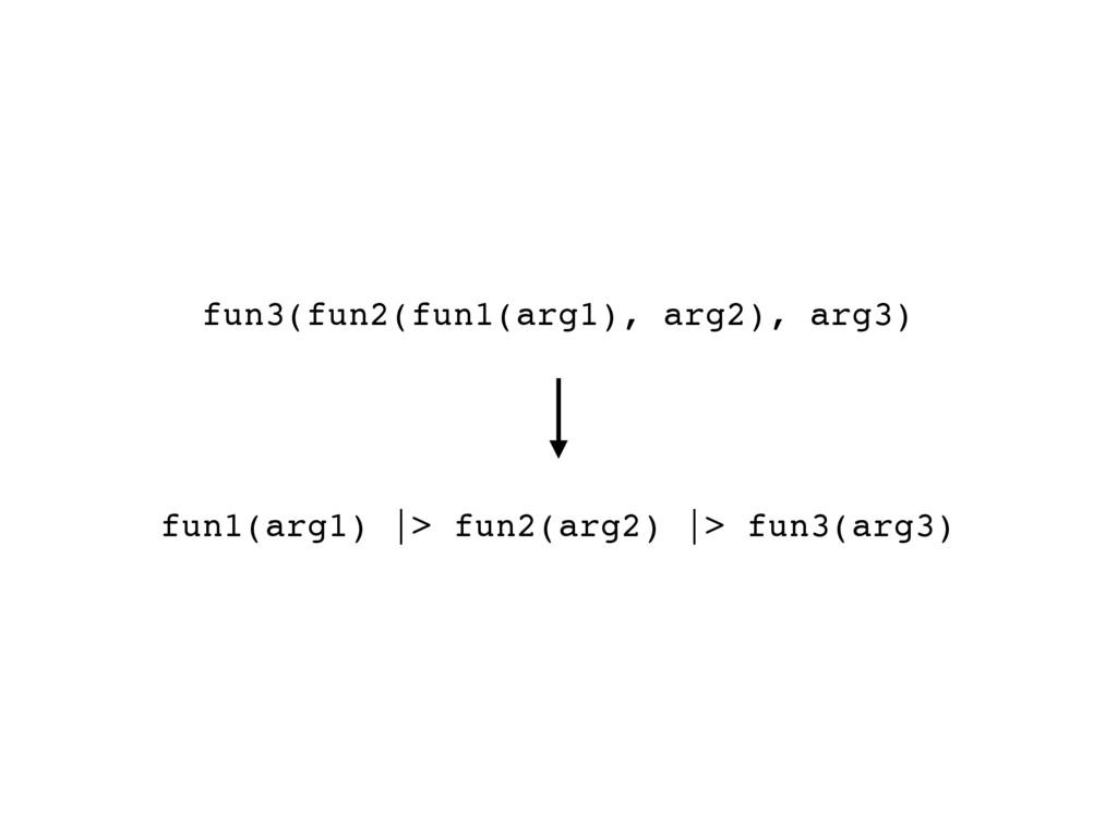 fun1(arg1) |> fun2(arg2) |> fun3(arg3) fun3(fun...
