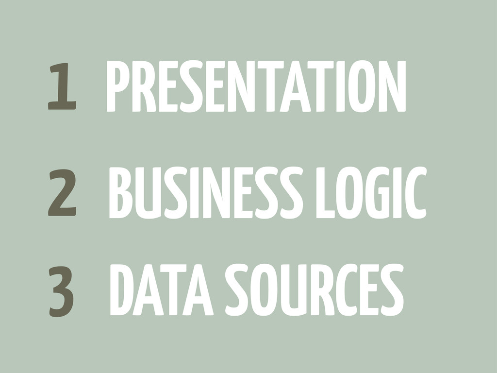 1 2 3 BUSINESS LOGIC DATA SOURCES PRESENTATION