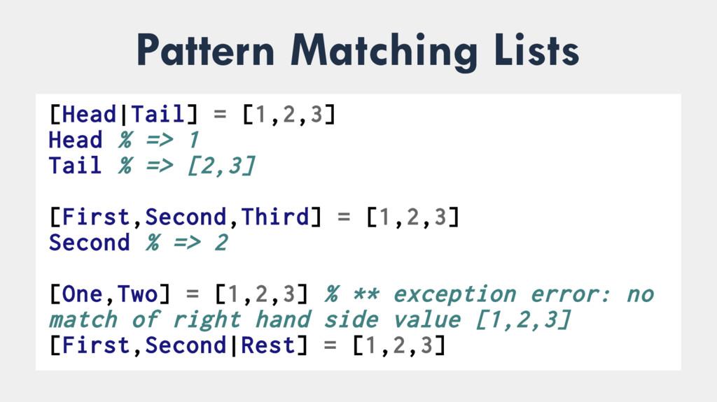 Pattern Matching Lists ● [Head Tail] = [1,2,3] ...