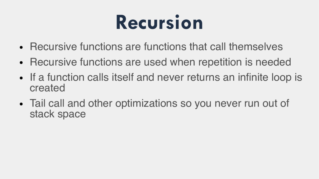 Recursion ● Recursive functions are functions t...