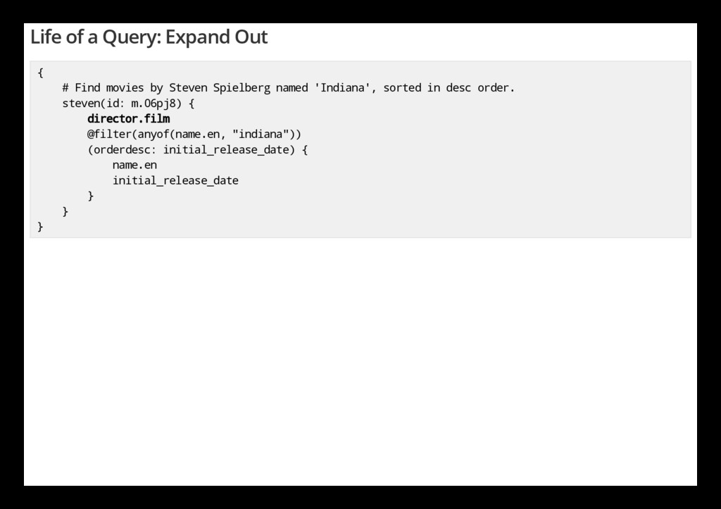 Life of a Query: Expand Out { # Find movies by ...