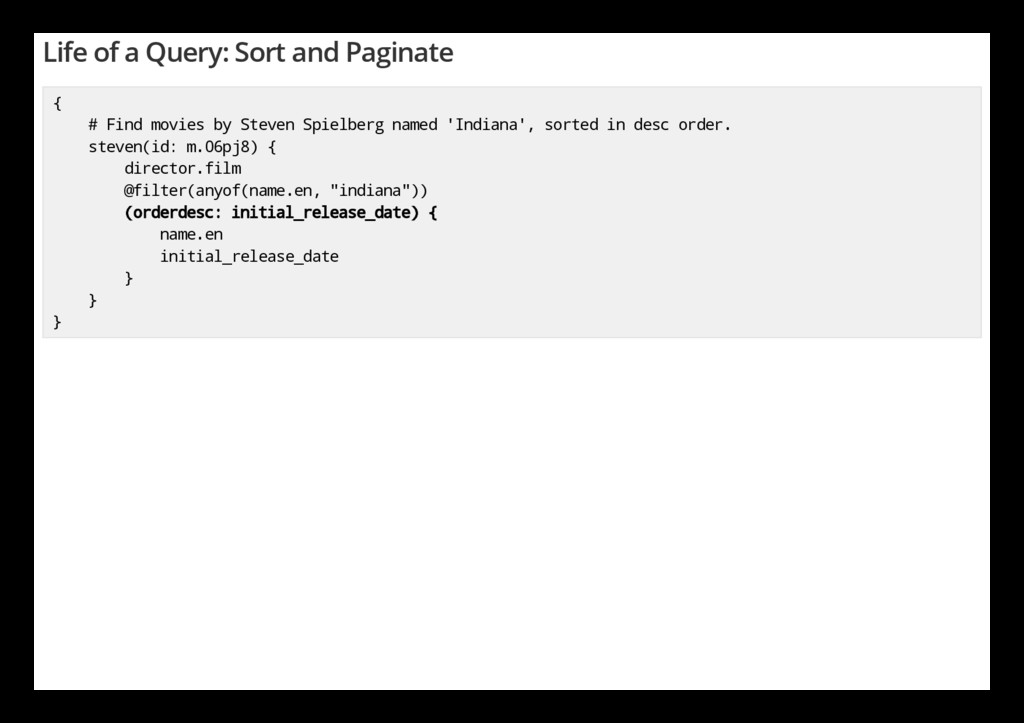 Life of a Query: Sort and Paginate { # Find mov...