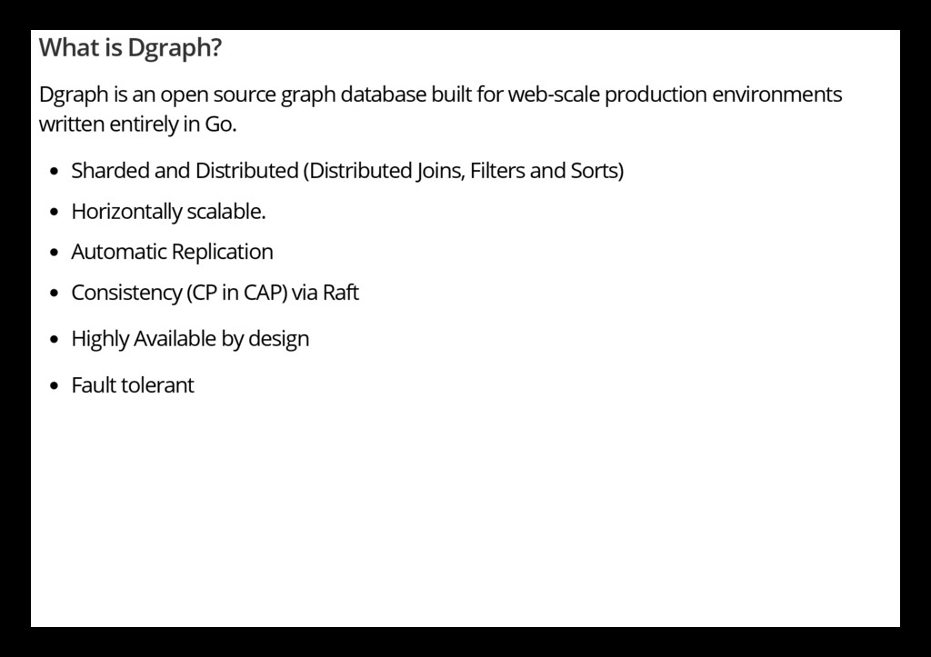 What is Dgraph? Dgraph is an open source graph ...