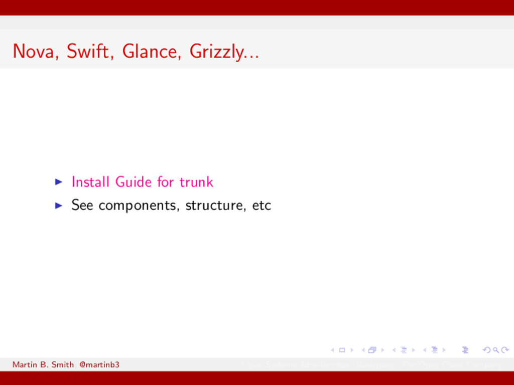 Nova, Swift, Glance, Grizzly... Install Guide f...