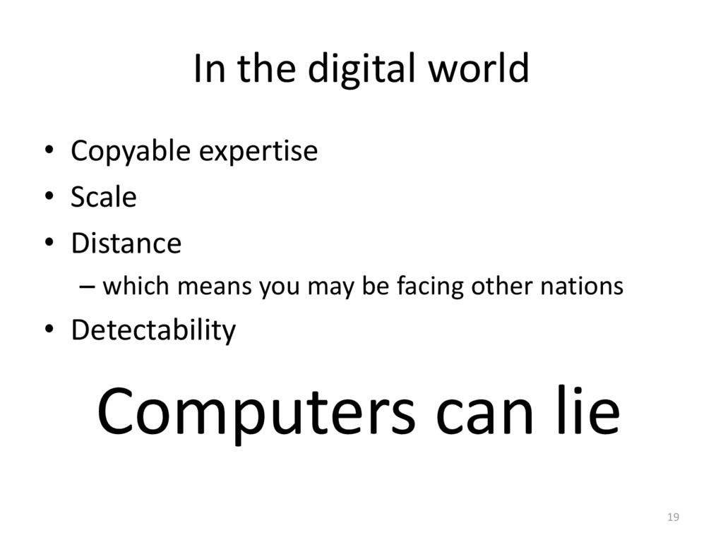 In the digital world • Copyable expertise • Sca...