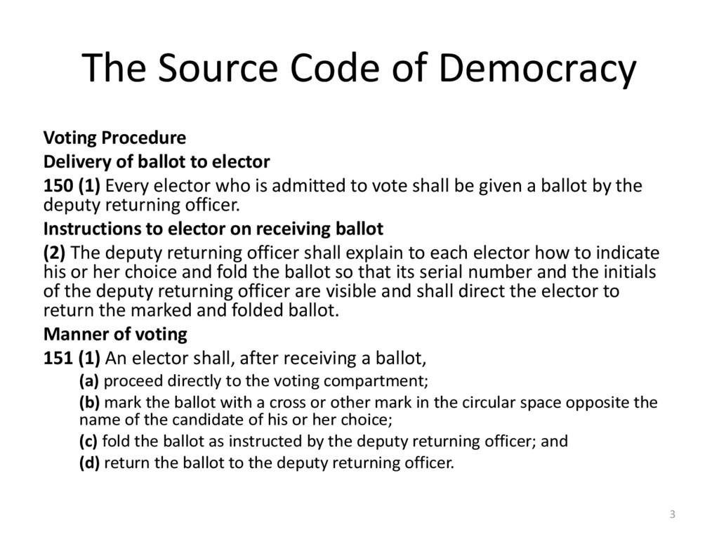 The Source Code of Democracy Voting Procedure D...