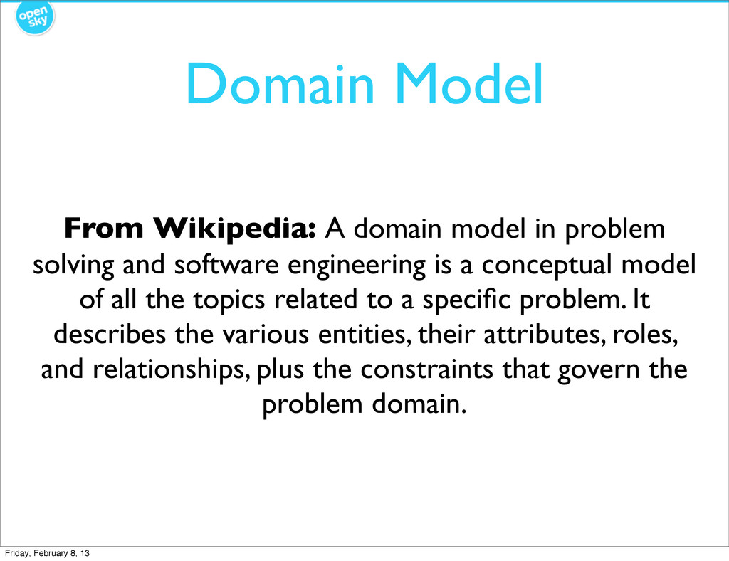 Domain Model From Wikipedia: A domain model in ...
