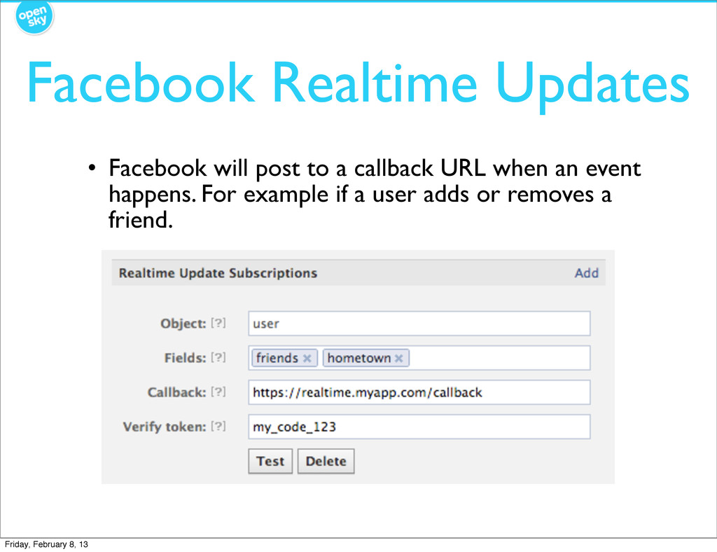 Facebook Realtime Updates • Facebook will post ...