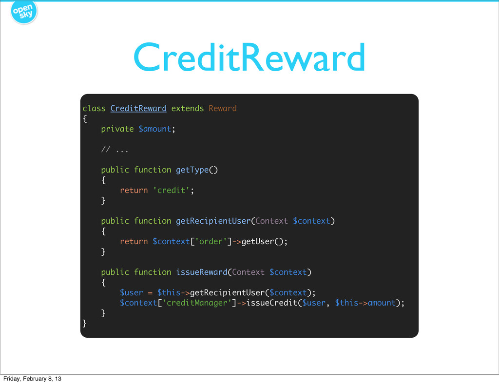 CreditReward class CreditReward extends Reward ...