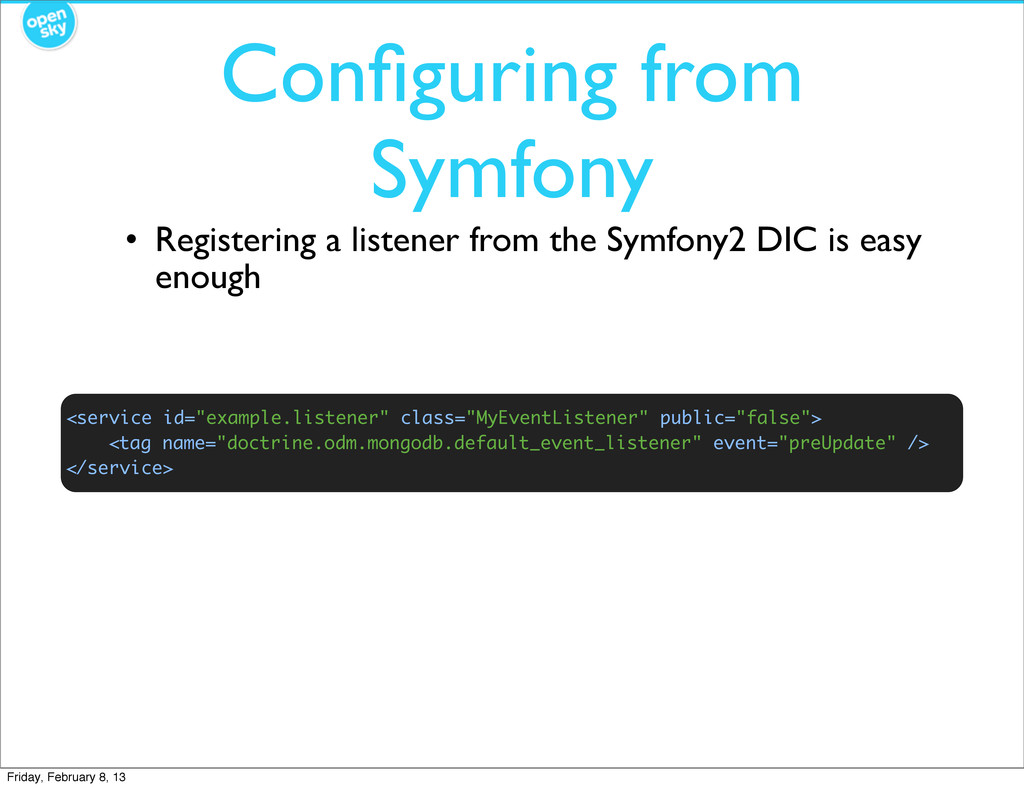 "Configuring from Symfony <service id=""example.li..."
