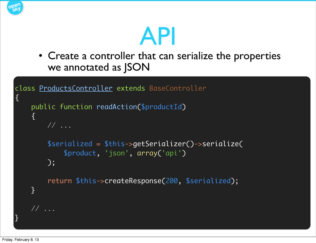 API class ProductsController extends BaseContro...