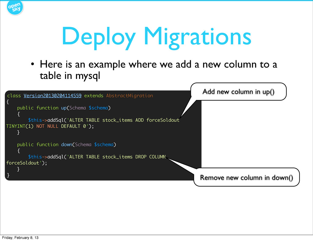 Deploy Migrations class Version20130204114559 e...