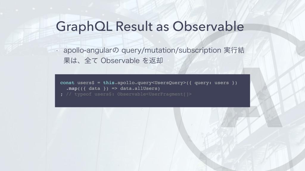 GraphQL Result as Observable w BQPMMPBOHVMBSͷ...
