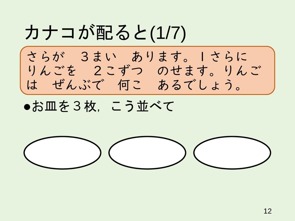 カナコが配ると(1/7) お皿を3枚,こう並べて 12 さらが 3まい あります。1さらに ...